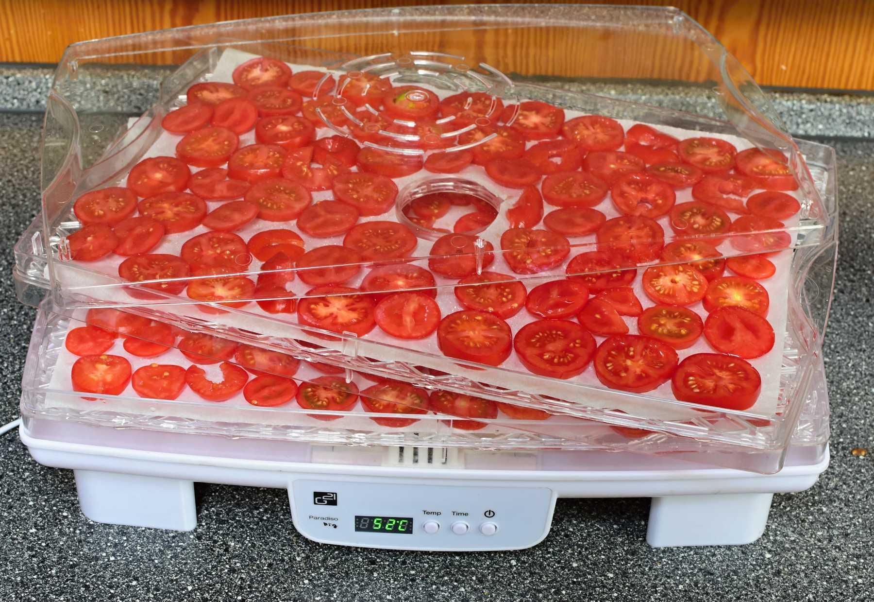 sušení rajčat v sušičce